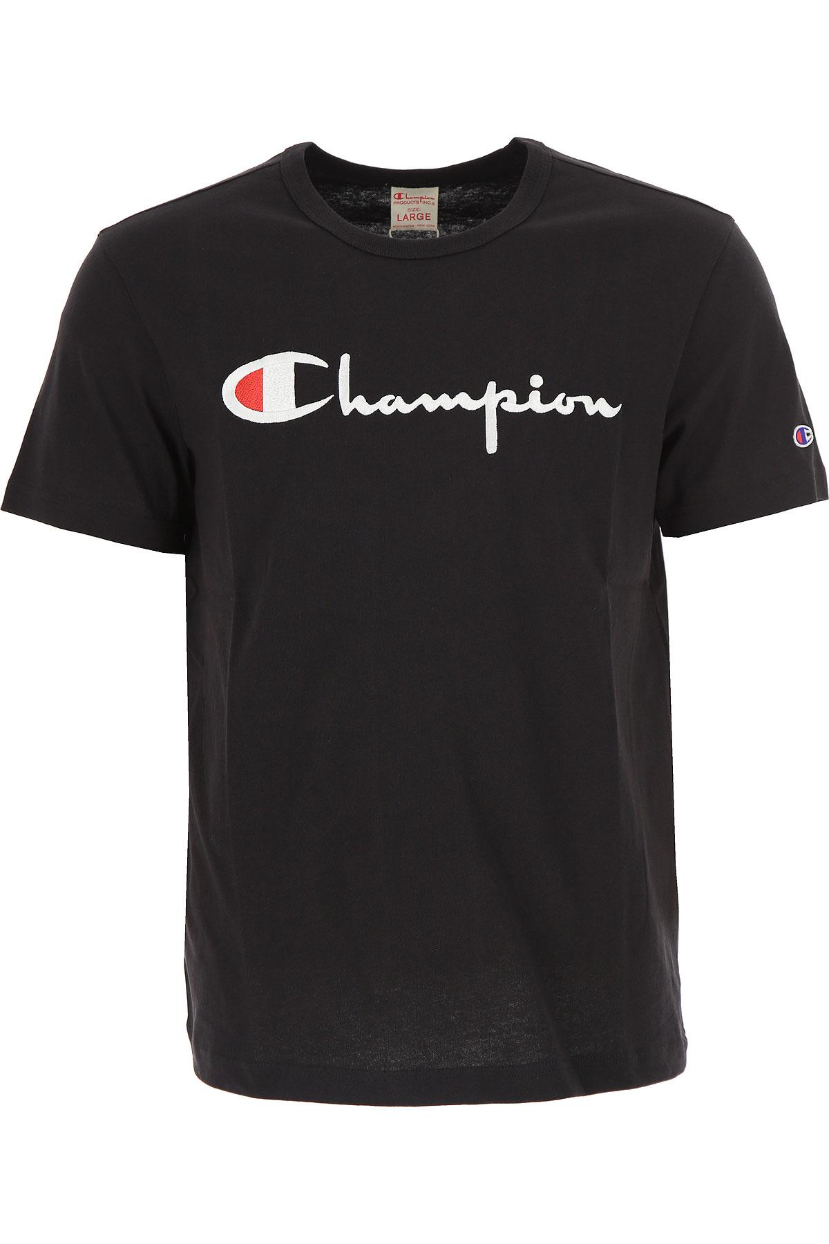 Champion T-Shirt for Men, Navy Blue, Cotton, 2017, L M USA-454759