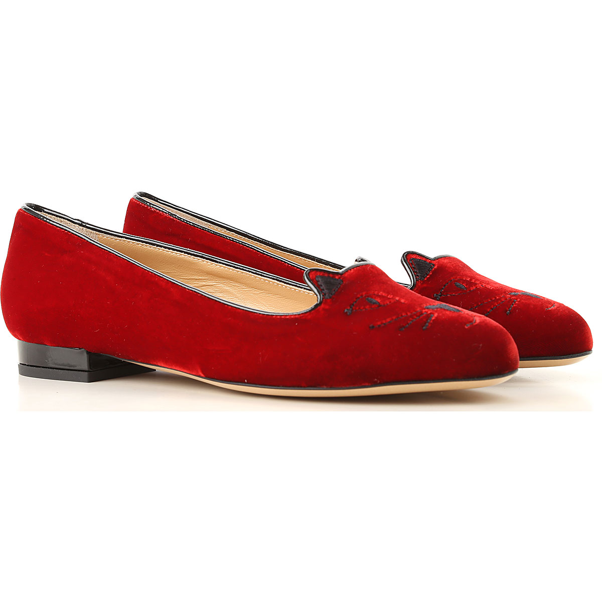 Image of Charlotte Olympia Ballet Flats Ballerina Shoes for Women, Bloody Red, Velvet, 2017, 6 7 8 9