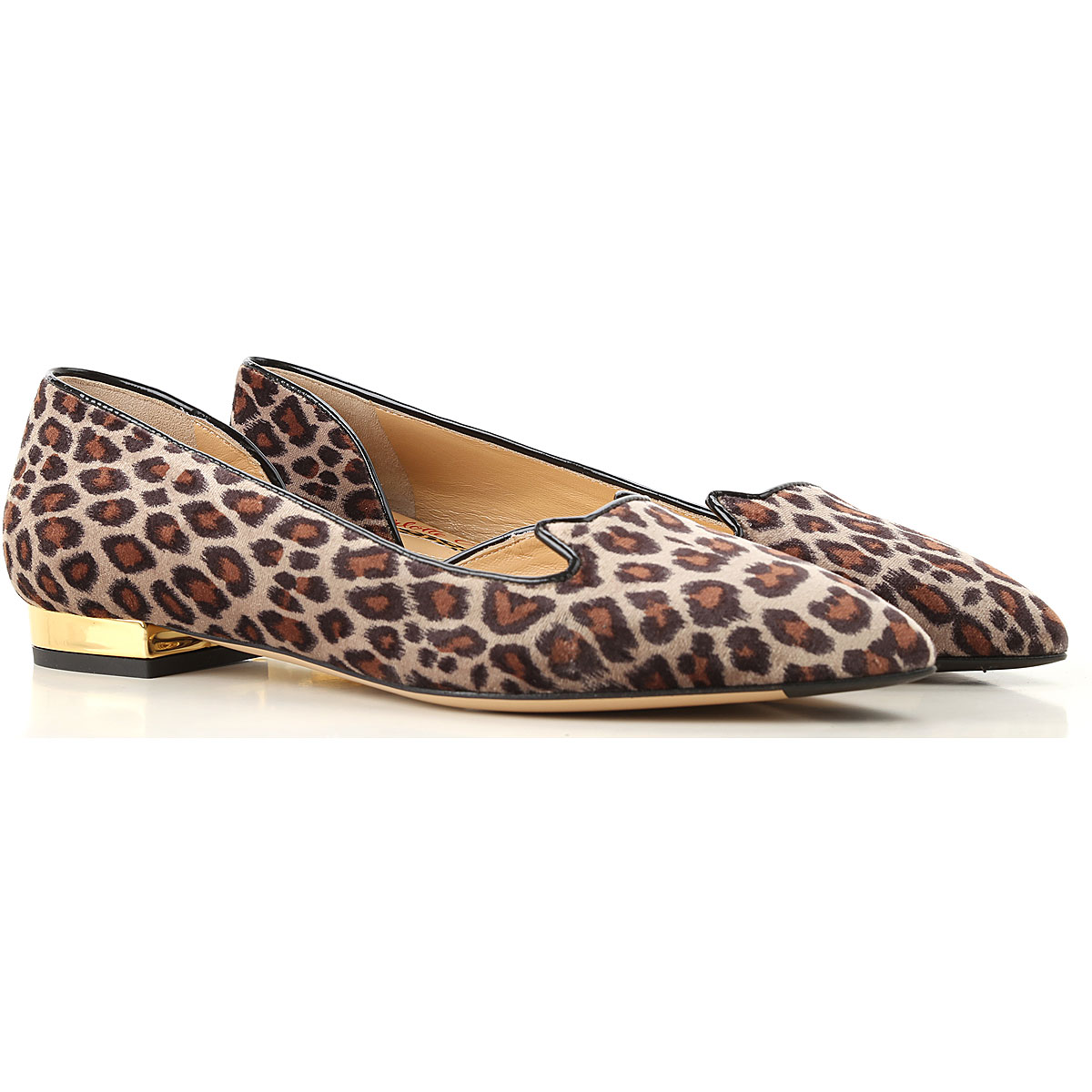 Image of Charlotte Olympia Ballet Flats Ballerina Shoes for Women, Leopard, Fur, 2017, 6 7 8 9