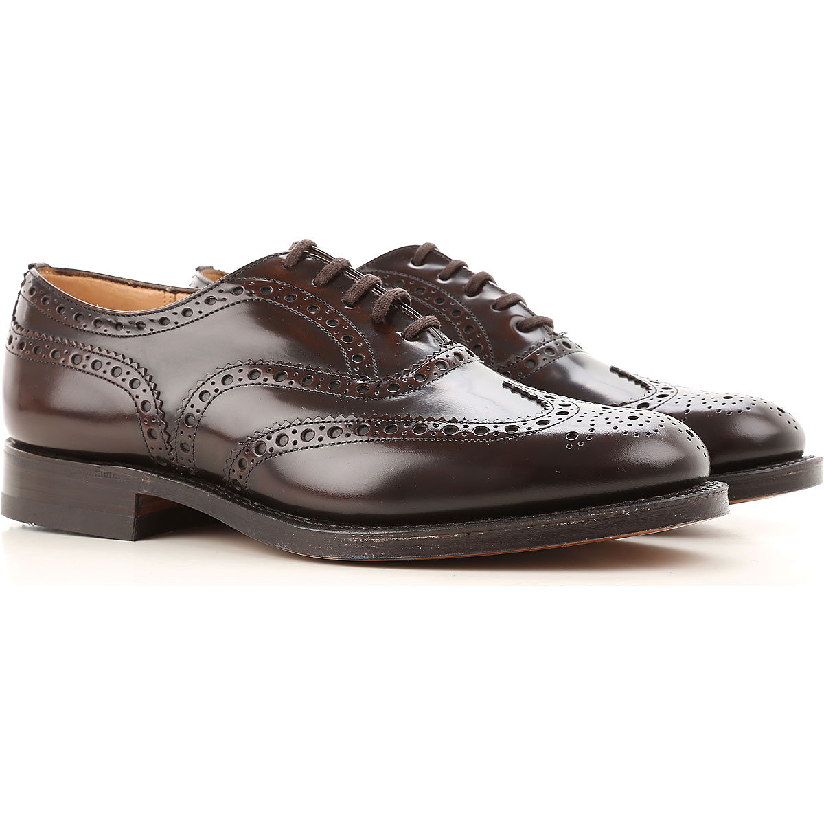 Image of Church's Brogue Shoes On Sale in Outlet, Ebony, Leather, 2017, 7 8.5