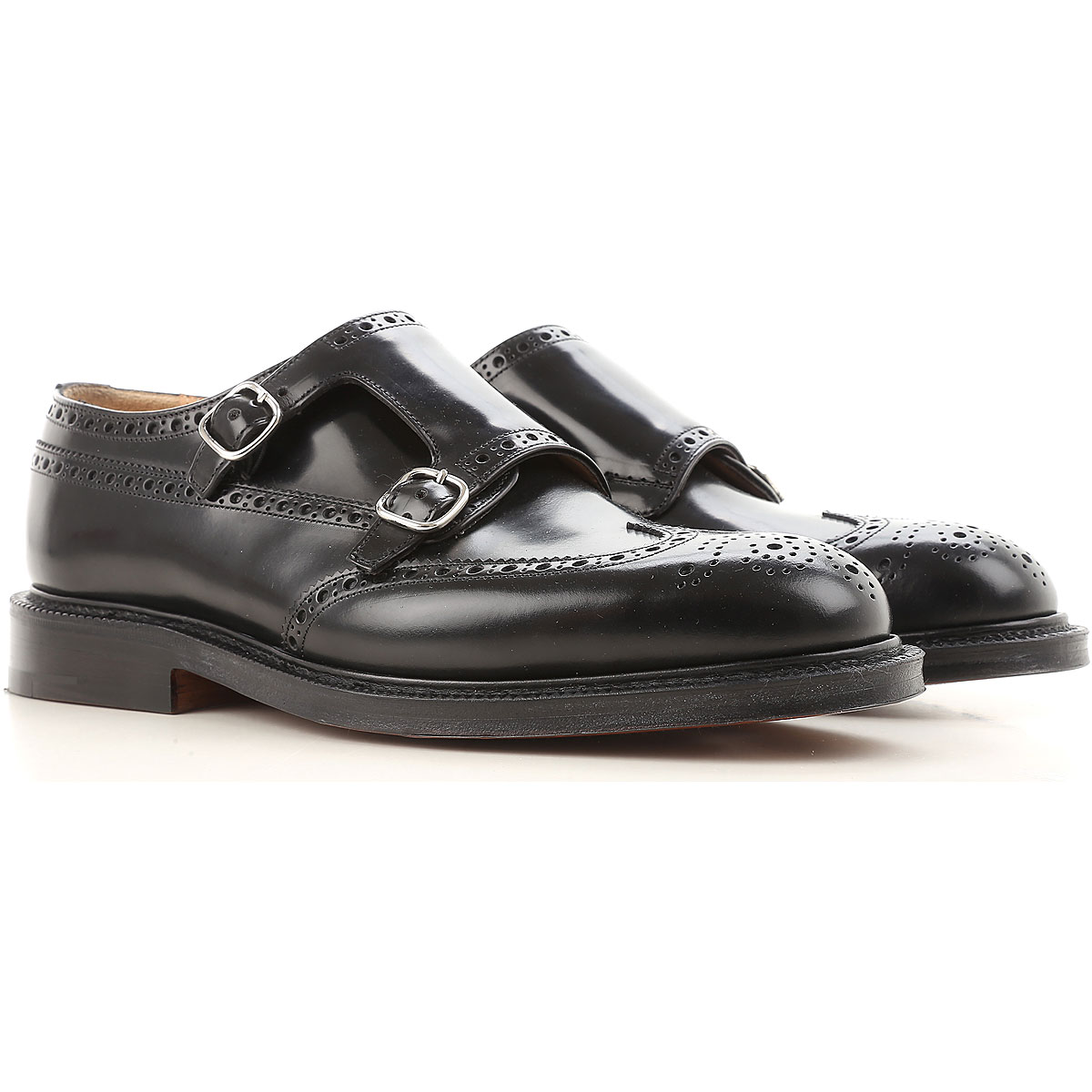 Image of Church's Monk Strap Shoes for Men On Sale, Black, Leather, 2017, 11 7
