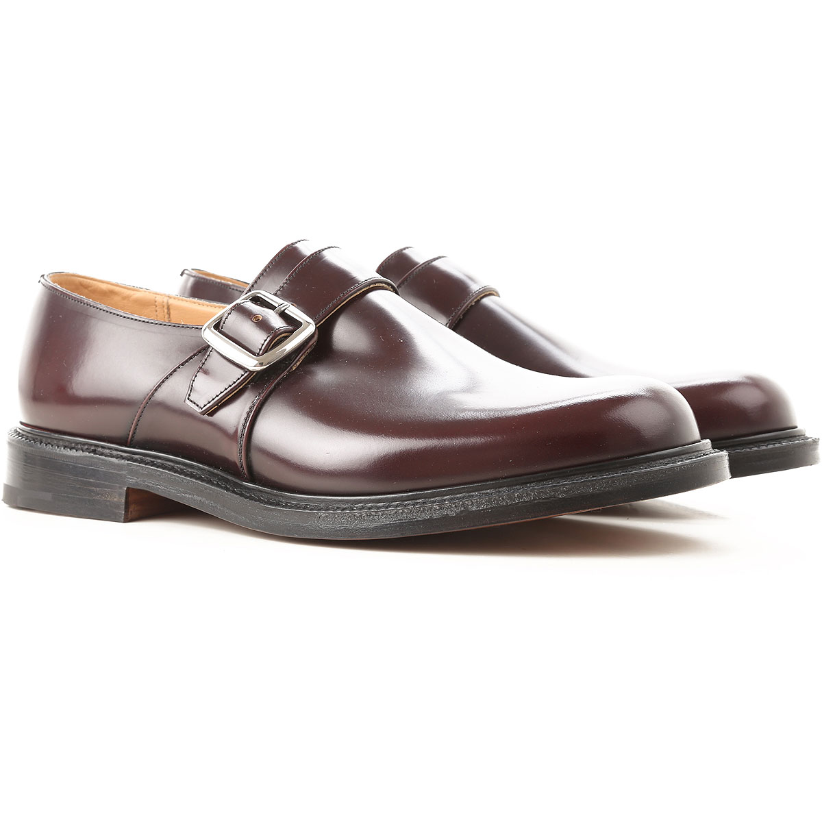 Image of Church's Monk Strap Shoes for Men, Burgundy, Leather, 2017, 10 10.5 7 7.5 8 8.5 9 9.5