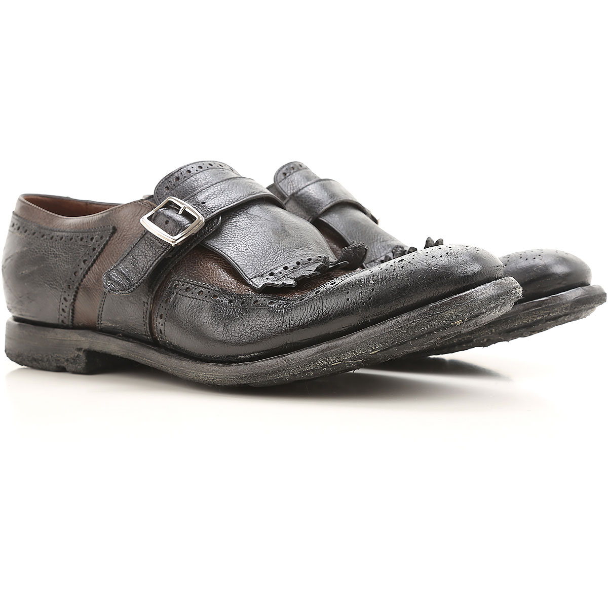 Image of Church's Monk Strap Shoes for Men On Sale, Black, Leather, 2017, 10 10.5 11 7 7.5 8.5 9 9.5