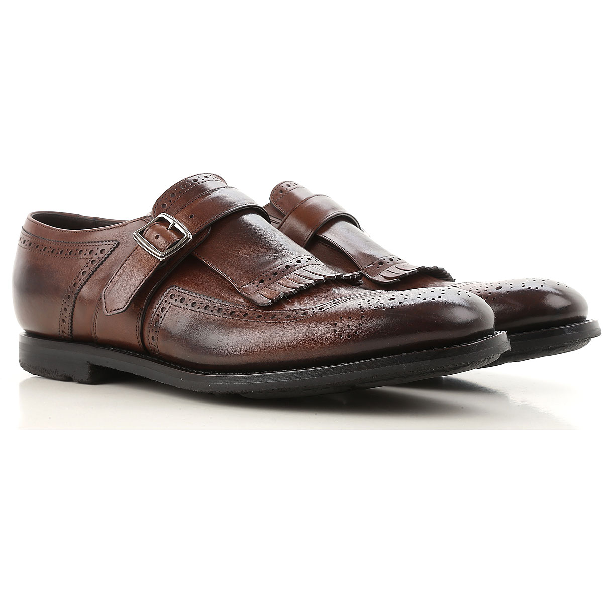 Image of Church's Monk Strap Shoes for Men On Sale, Burnt, Leather, 2017, 10 7 7.5 8 8.5 9