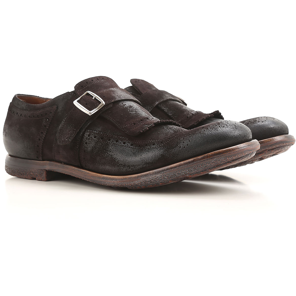 Image of Church's Monk Strap Shoes for Men, Brown turkish coffee, Suede leather, 2017, 10 7 7.5 8.5 9 9.5