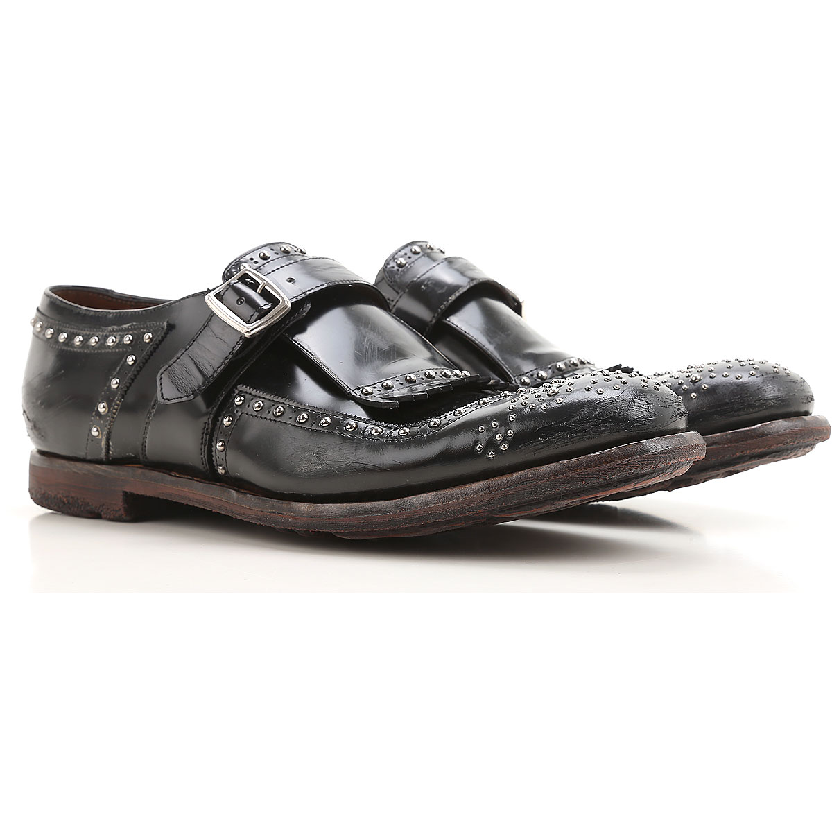 Image of Church's Monk Strap Shoes for Men On Sale, Black, Leather, 2017, 10 10.5 12 9.5