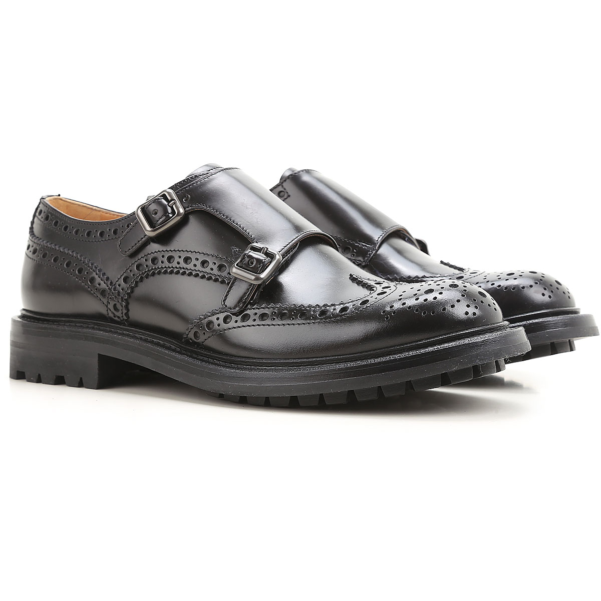 Image of Church's Monk Strap Shoes, Black, Leather, 2017, 10 11 8 8.5