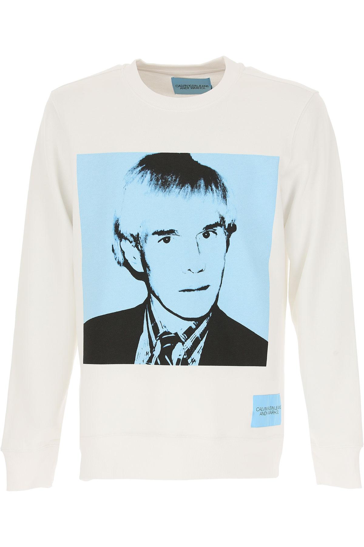 Calvin Klein Sweatshirt for Men, White, Cotton, 2017, L M S XL USA-467174