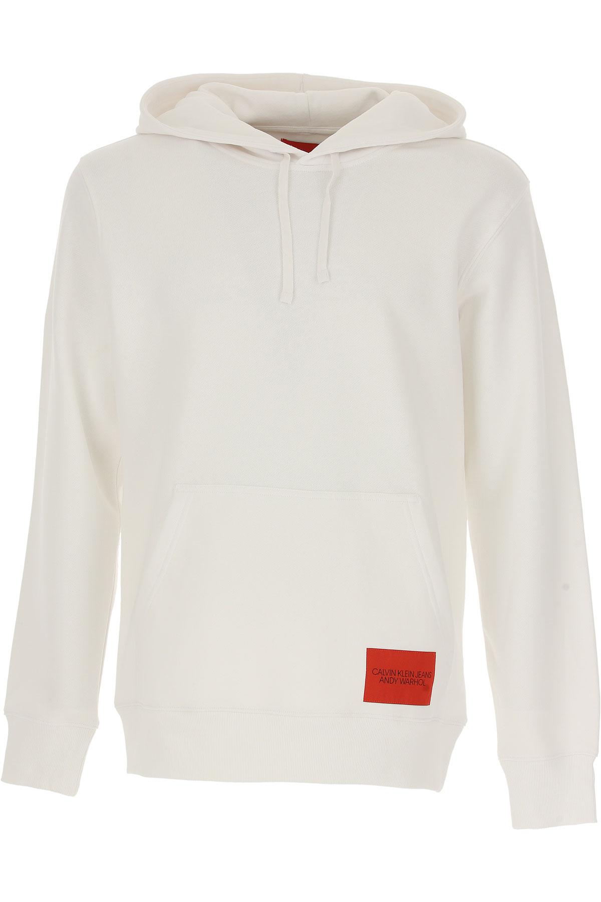 Calvin Klein Sweatshirt for Men, White, Cotton, 2017, L M S XL USA-467172