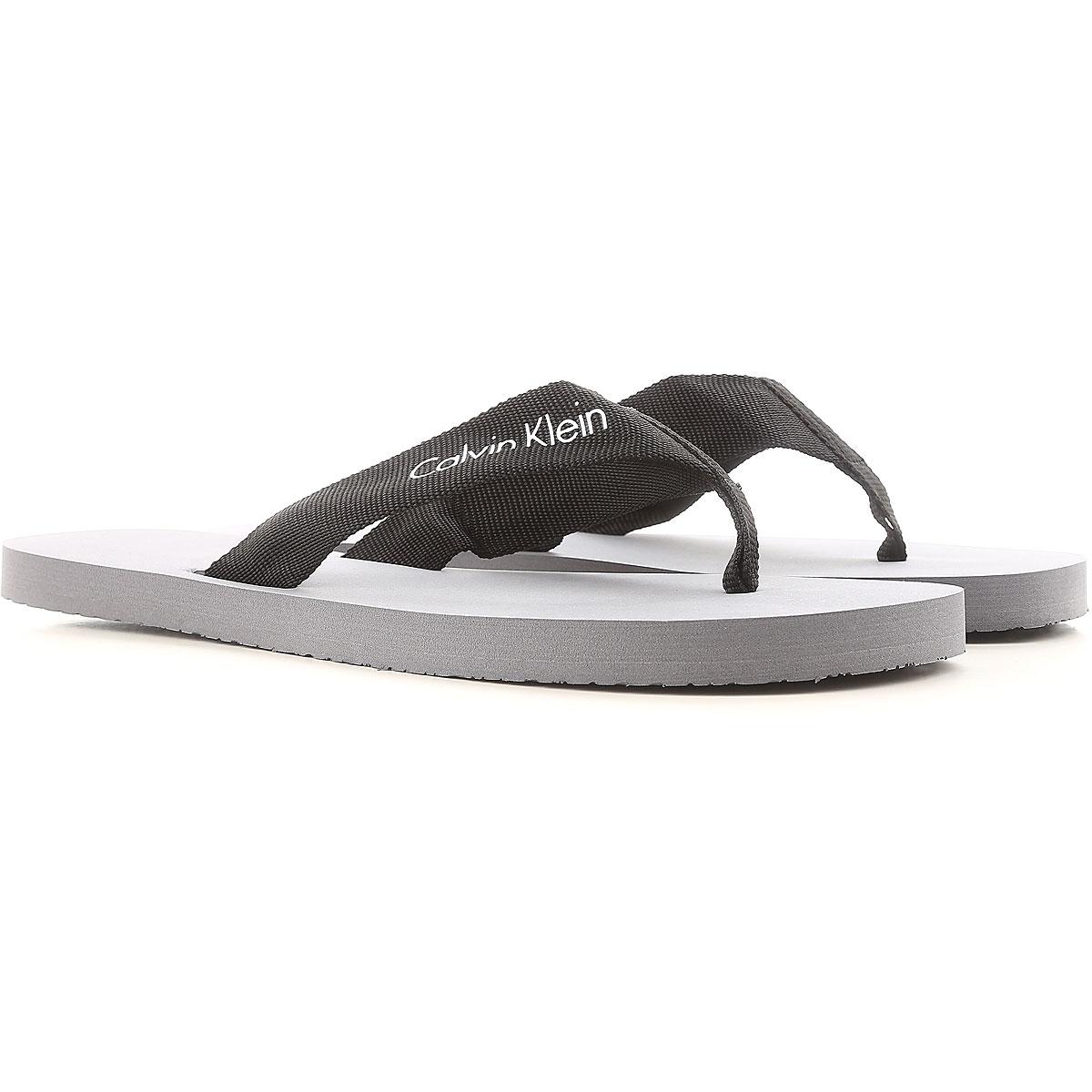 Calvin Klein Sandals for Men, Grey, Rubber, 2017, S - 39 / 40  M - 41 / 42 L - 43 / 44 USA-451830