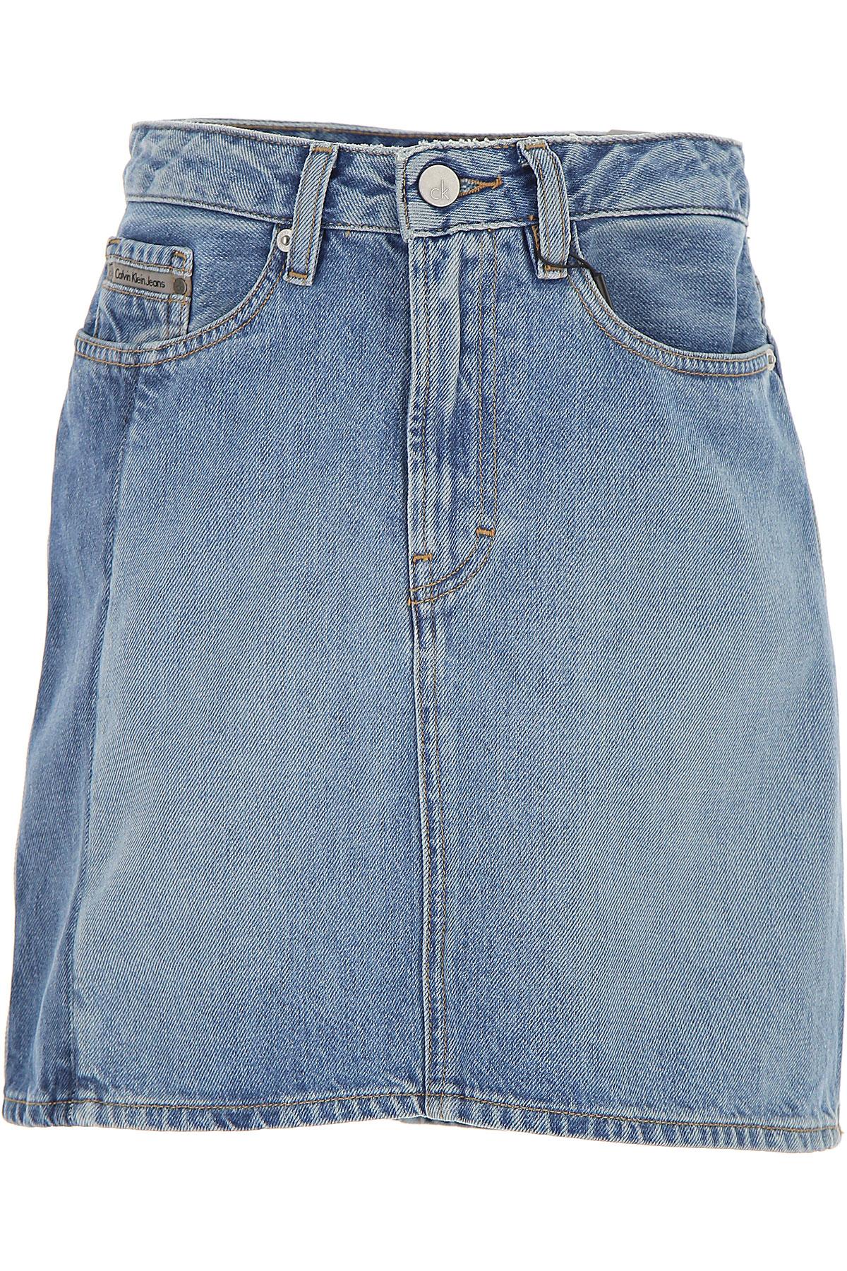 Image of Calvin Klein Skirt for Women On Sale, Denim, Cotton, 2017, 25 26 27 28