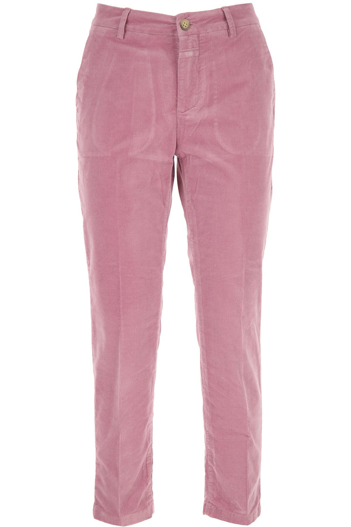 Closed Pants for Women On Sale, Mauve, Cotton, 2019, 25 26 27 28 29