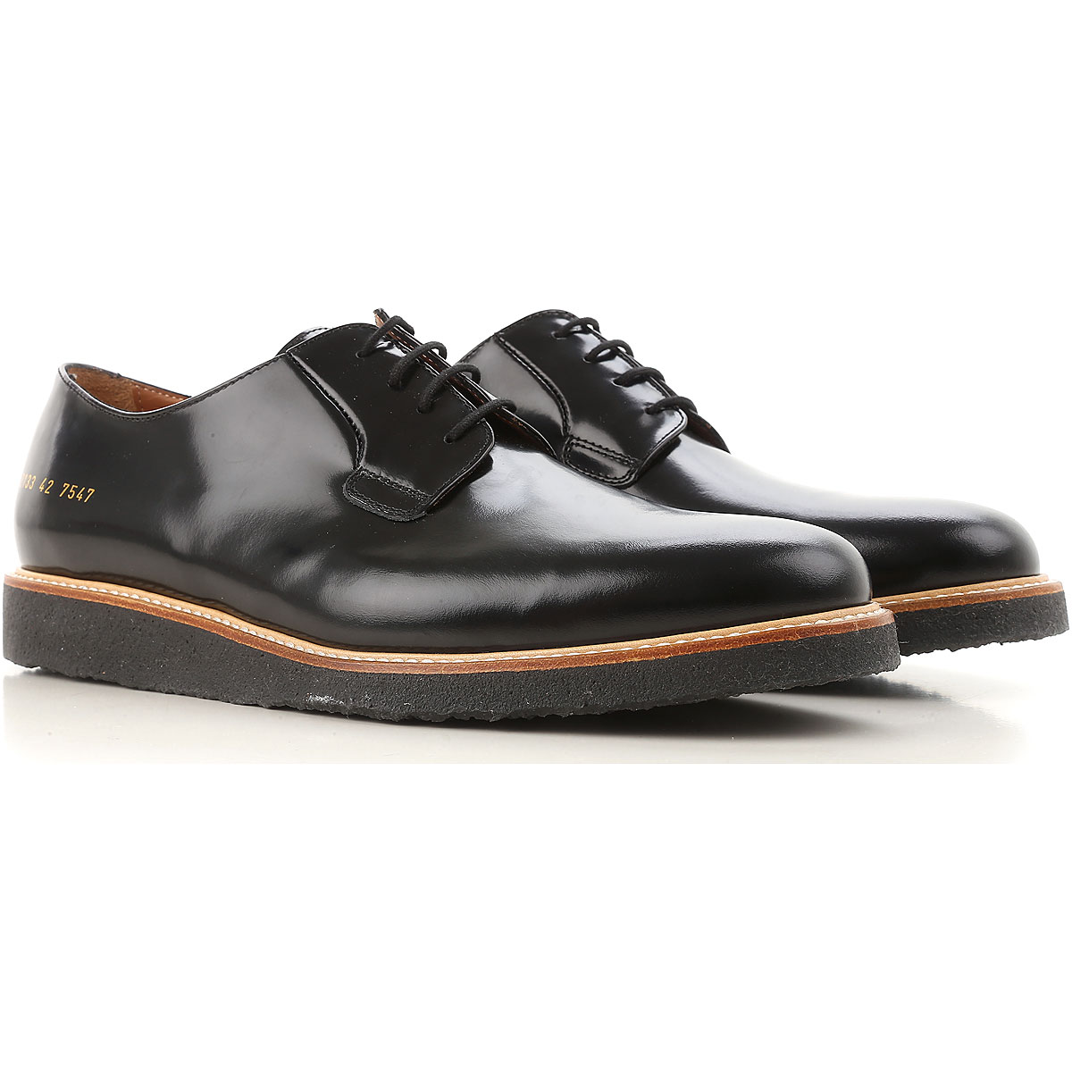 Image of Common Projects Lace Up Shoes for Men Oxfords, Derbies and Brogues On Sale, Black, Leather, 2017, 10 6.5 7.5 8 9