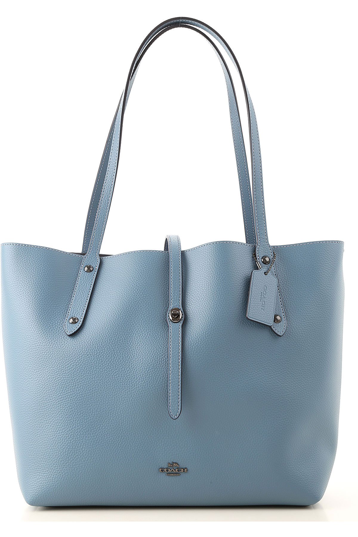 Coach Tote Bag On Sale, Chambray, Leather, 2019
