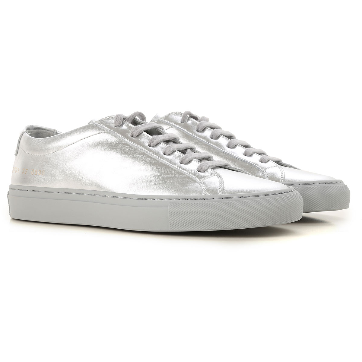 Image of Woman by Common Projects Sneakers for Women, Silver, Patent, 2017, 10 5 6 7 8 9
