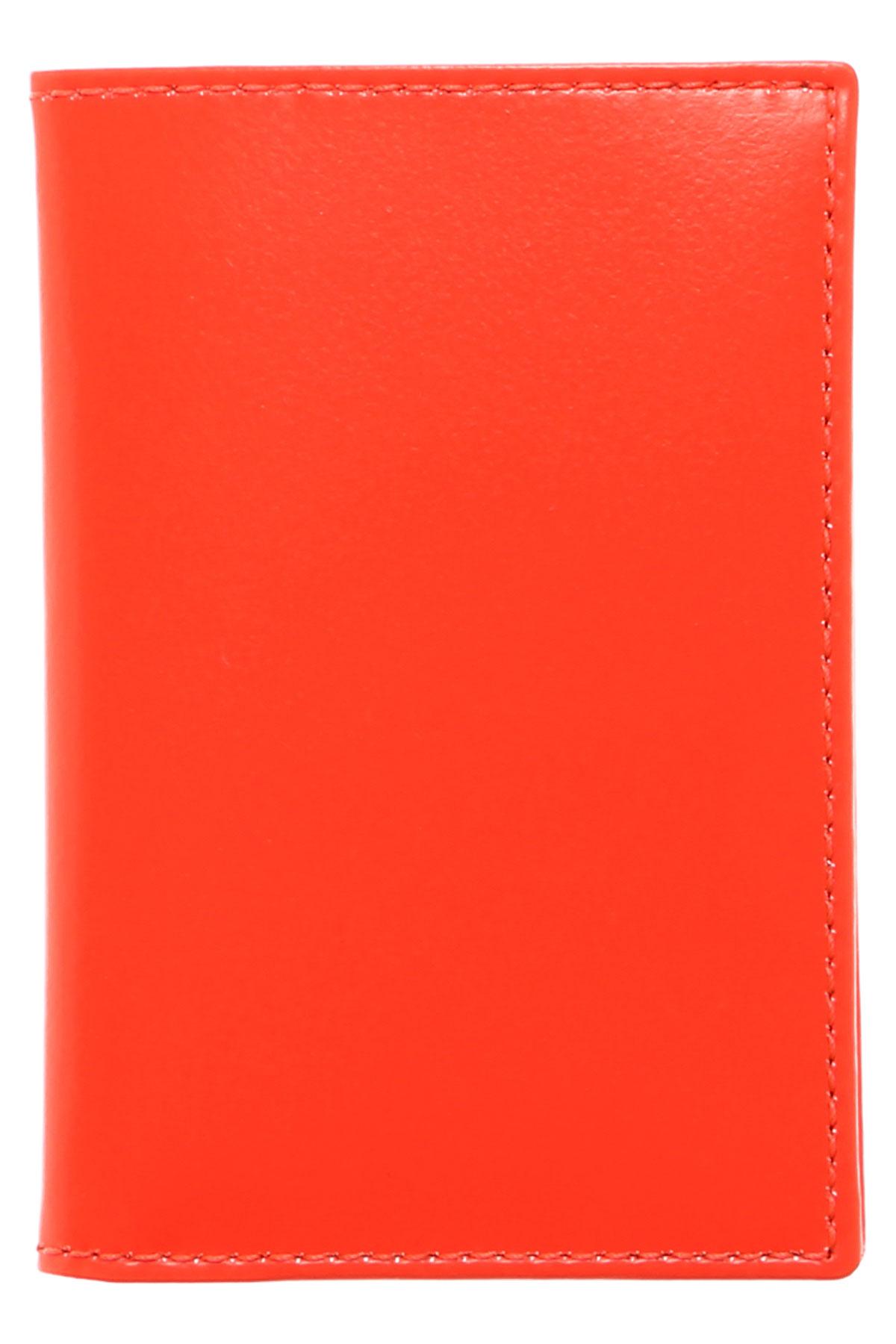 Image of Comme des Garcons Card Holder for Men On Sale, Fluo Orange, Leather, 2017