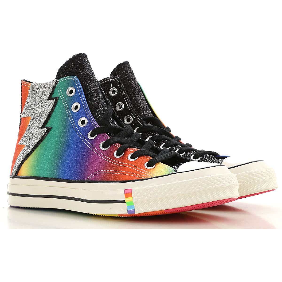 Converse Sneakers for Men On Sale, Black, Glitter Fabric, 2019, 7 7.75 8
