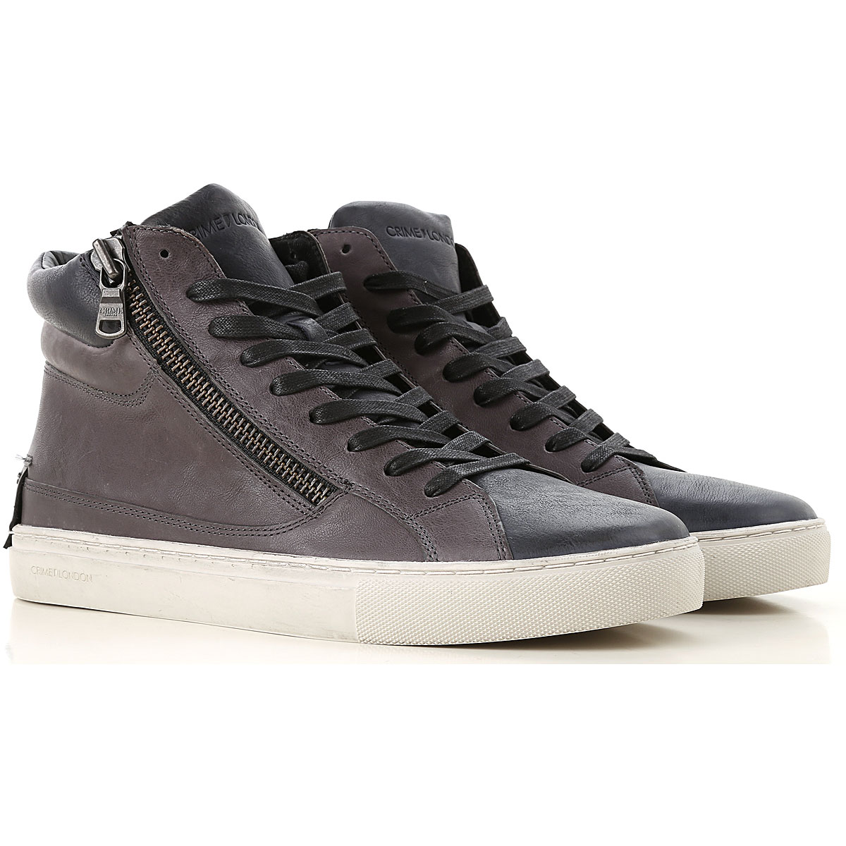 Image of Crime Sneakers for Men, Anthracite Grey, Leather, 2017, 10 10.5 7.5 8 9