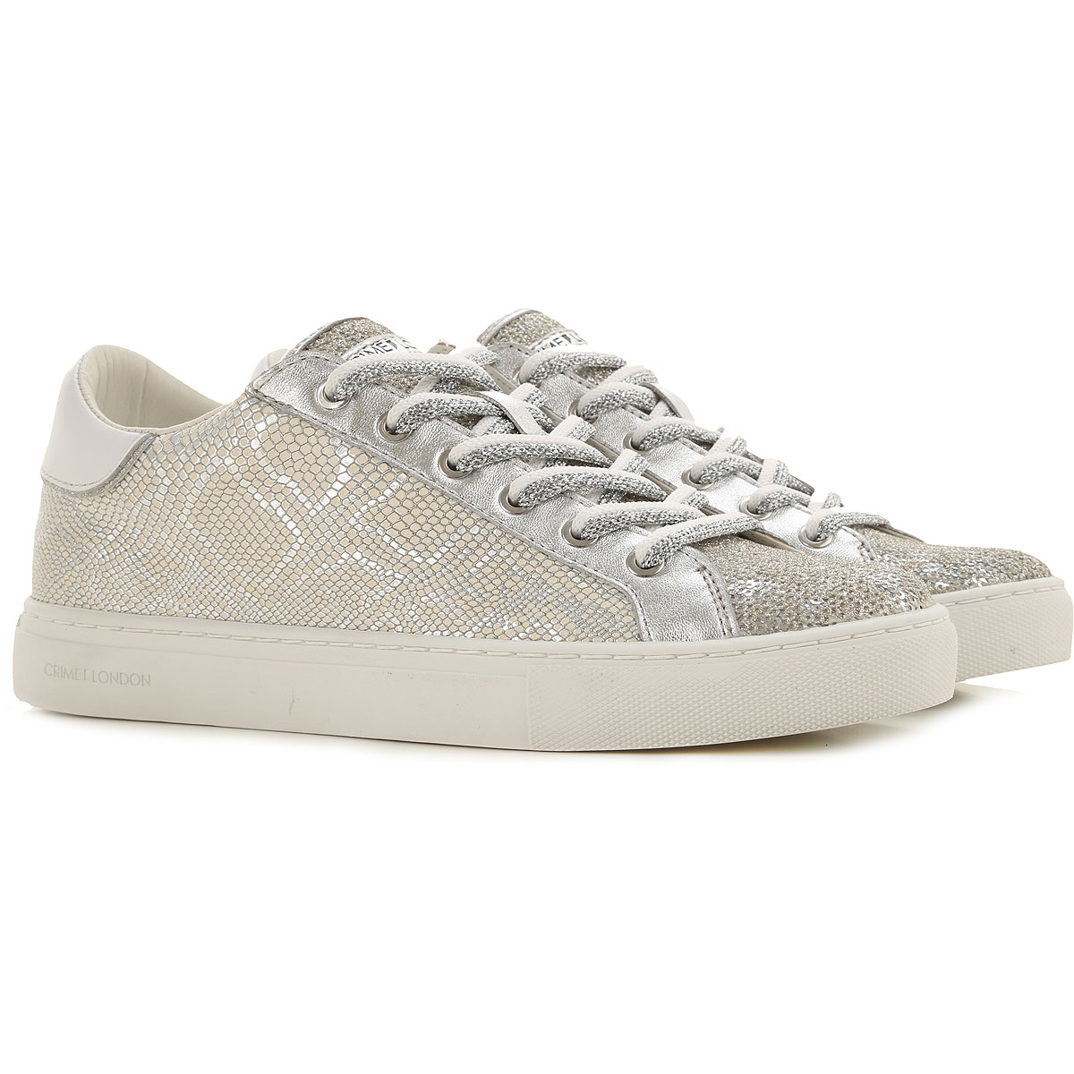 Crime Sneakers for Women On Sale, Silver, Leather, 2019, 10 6 7 8 9