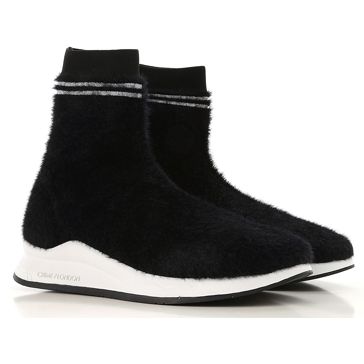 Image of Crime Boots for Women, Booties, Black, Eco Fur, 2017, 10 6 7 8 9
