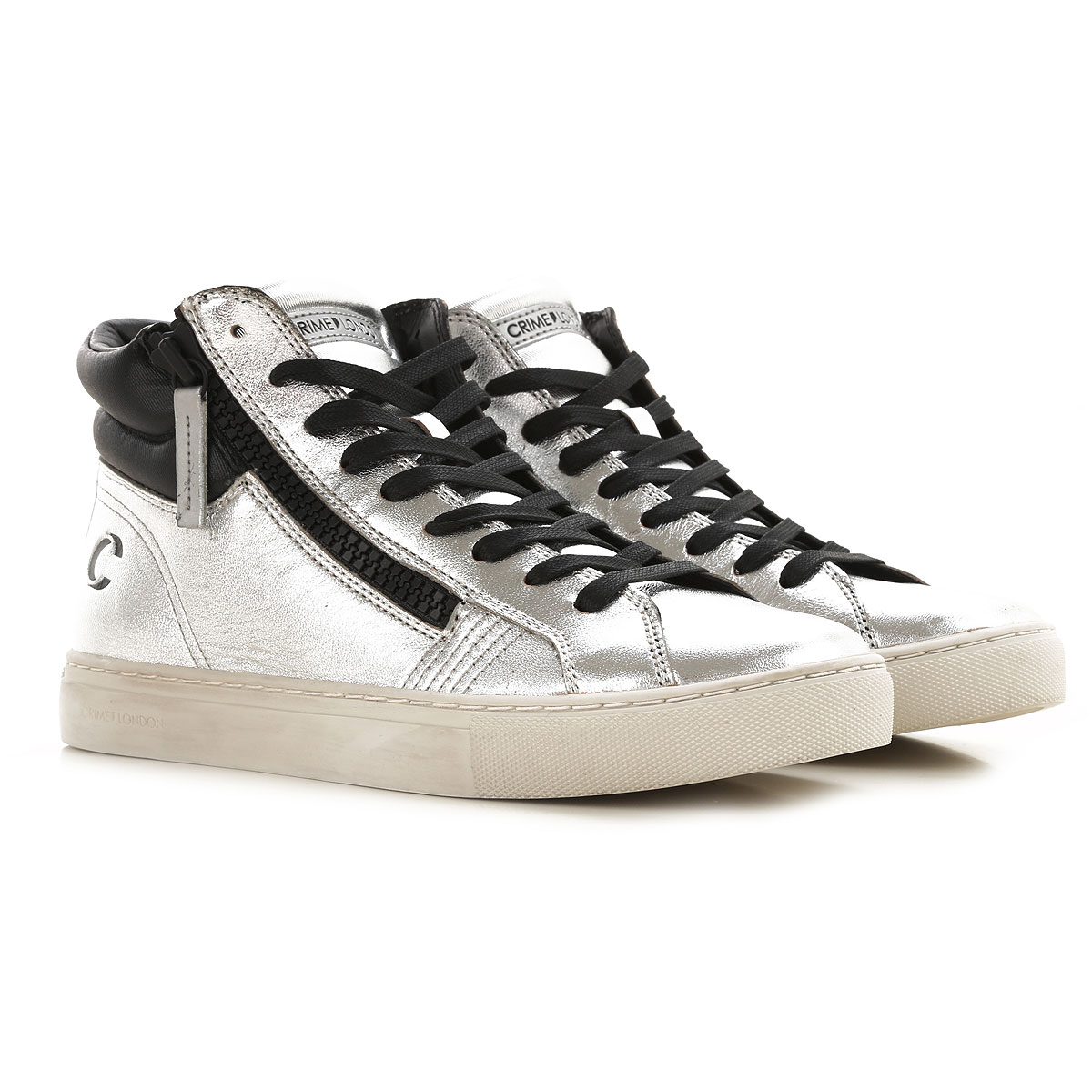 Crime Sneakers for Women On Sale, Metallic Silver, Leather, 2019, 10 6 7 8