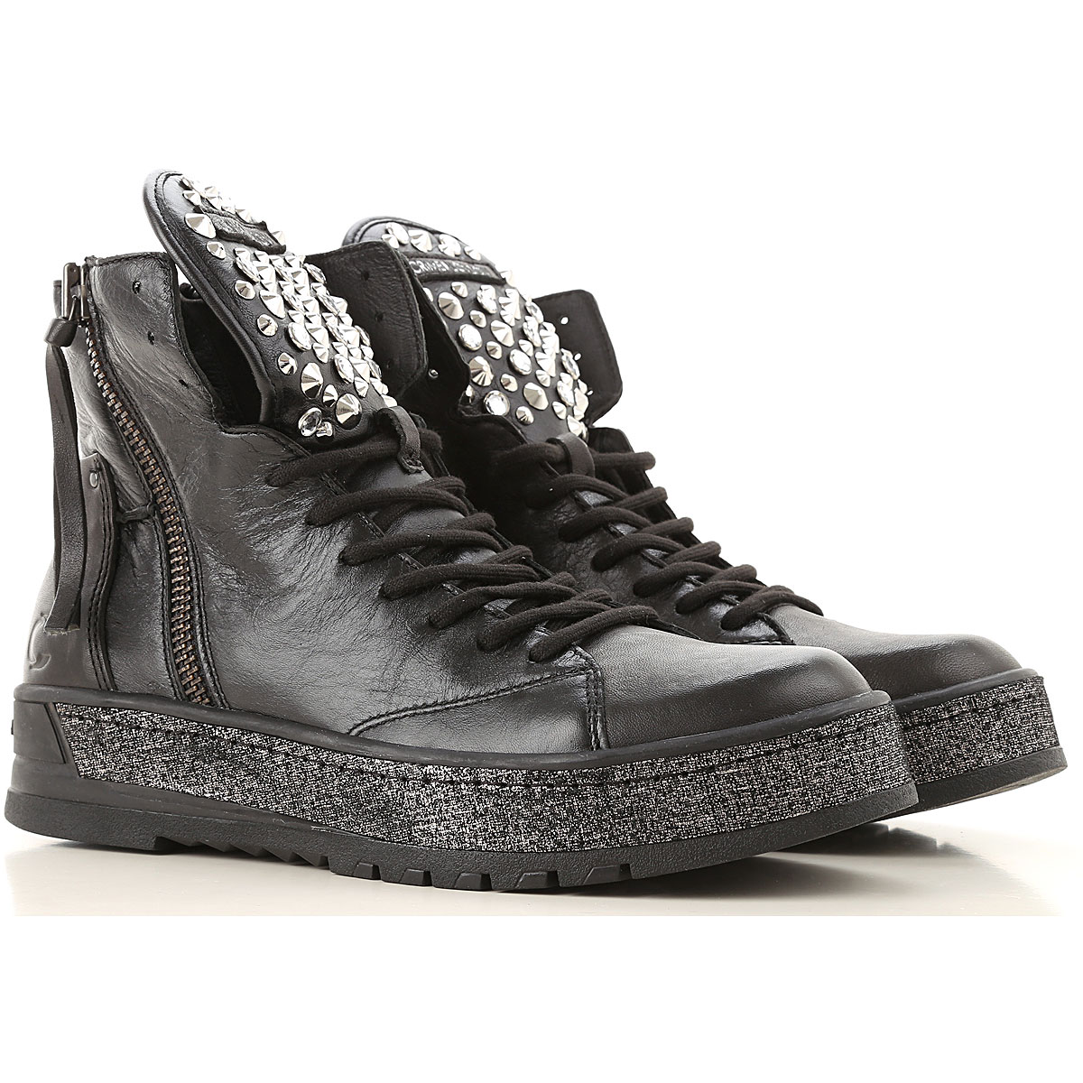Crime Sneakers for Women On Sale, Black, Leather, 2019, 6 7 8 9