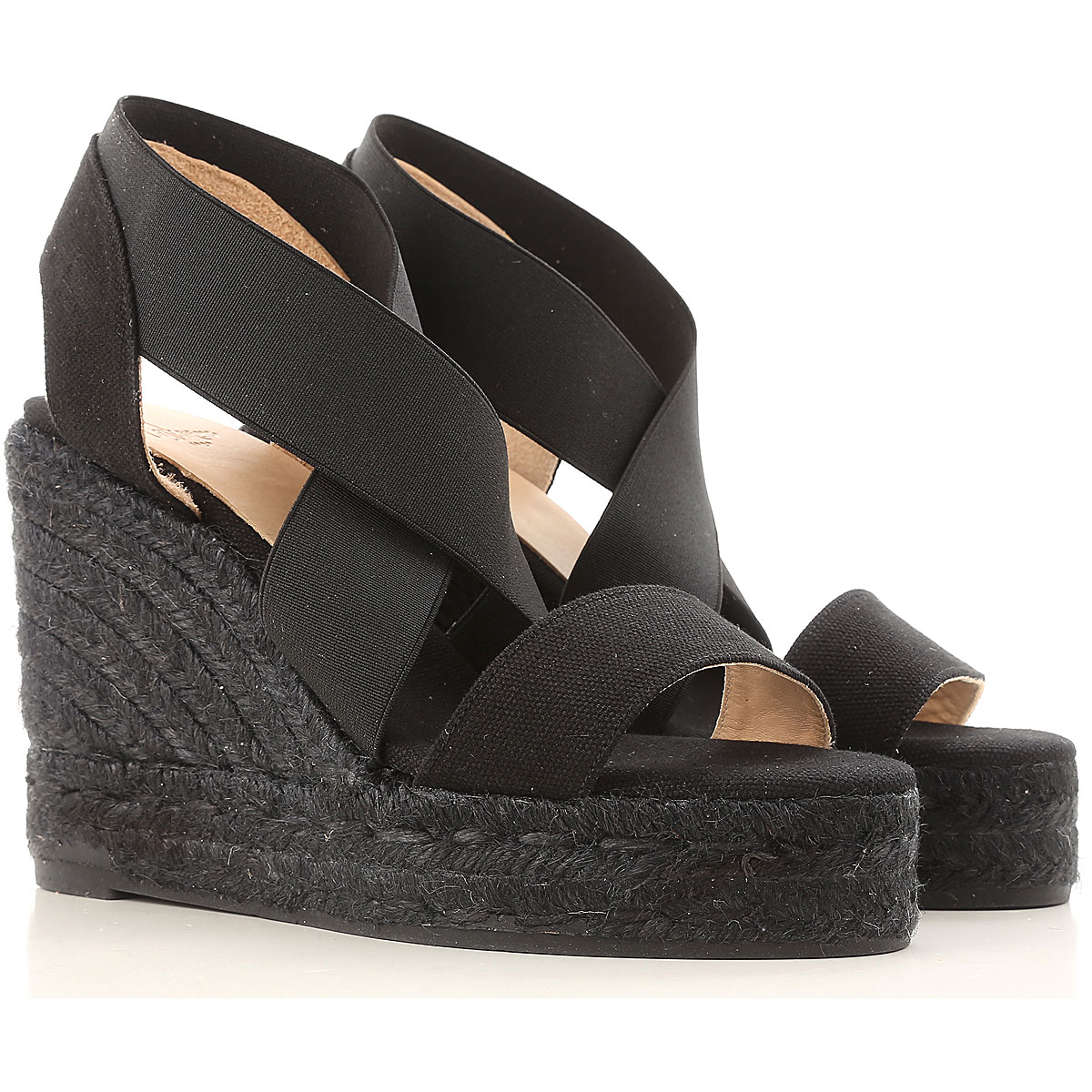 Castaner Wedges for Women On Sale, Black, Canvas, 2017, 11 7