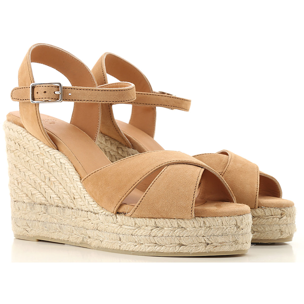 Castaner Wedges for Women, light Coffee, suede, 2017, 10 11 5 6 7 8 9