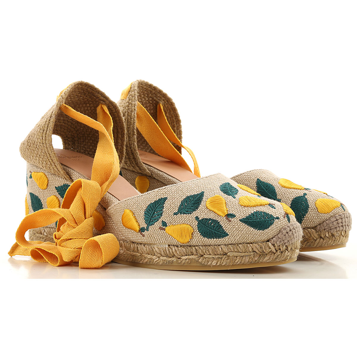 Castaner Wedges for Women On Sale in Outlet, Yellow, Yuta, 2019, 6