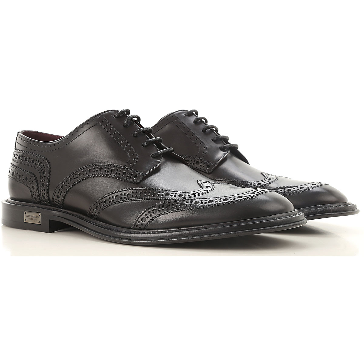 Dolce & Gabbana Brogue Shoes, Black, Leather, 2017, 10 10.5 11.5 7.5 8 8.5 9 9.5