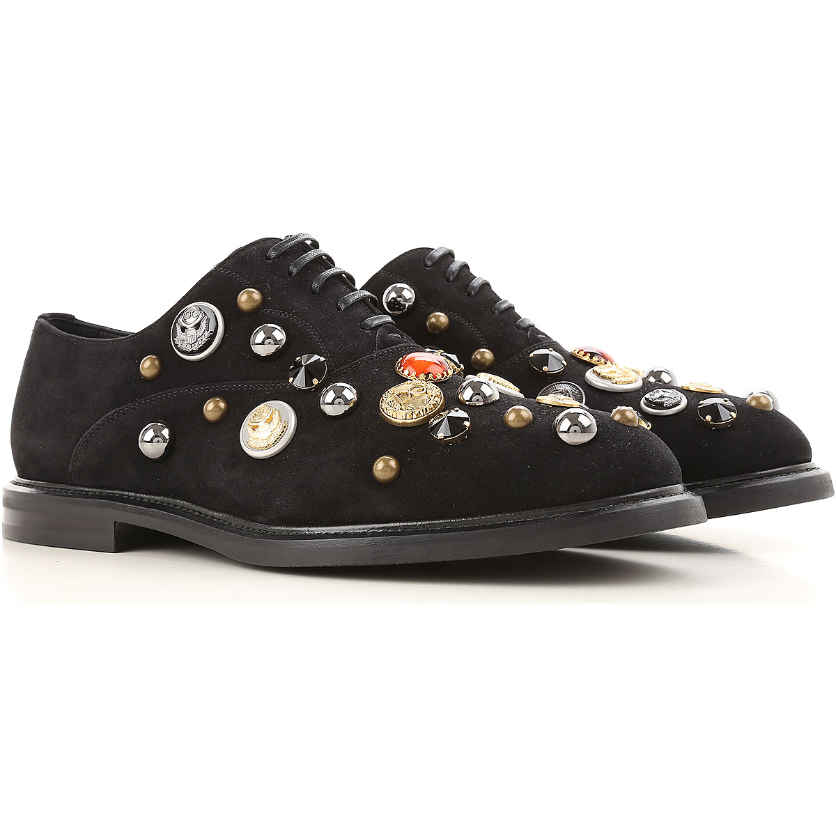 Dolce & Gabbana Brogue Shoes On Sale in Outlet, Black, Suede leather, 2017, 10.25 8.5