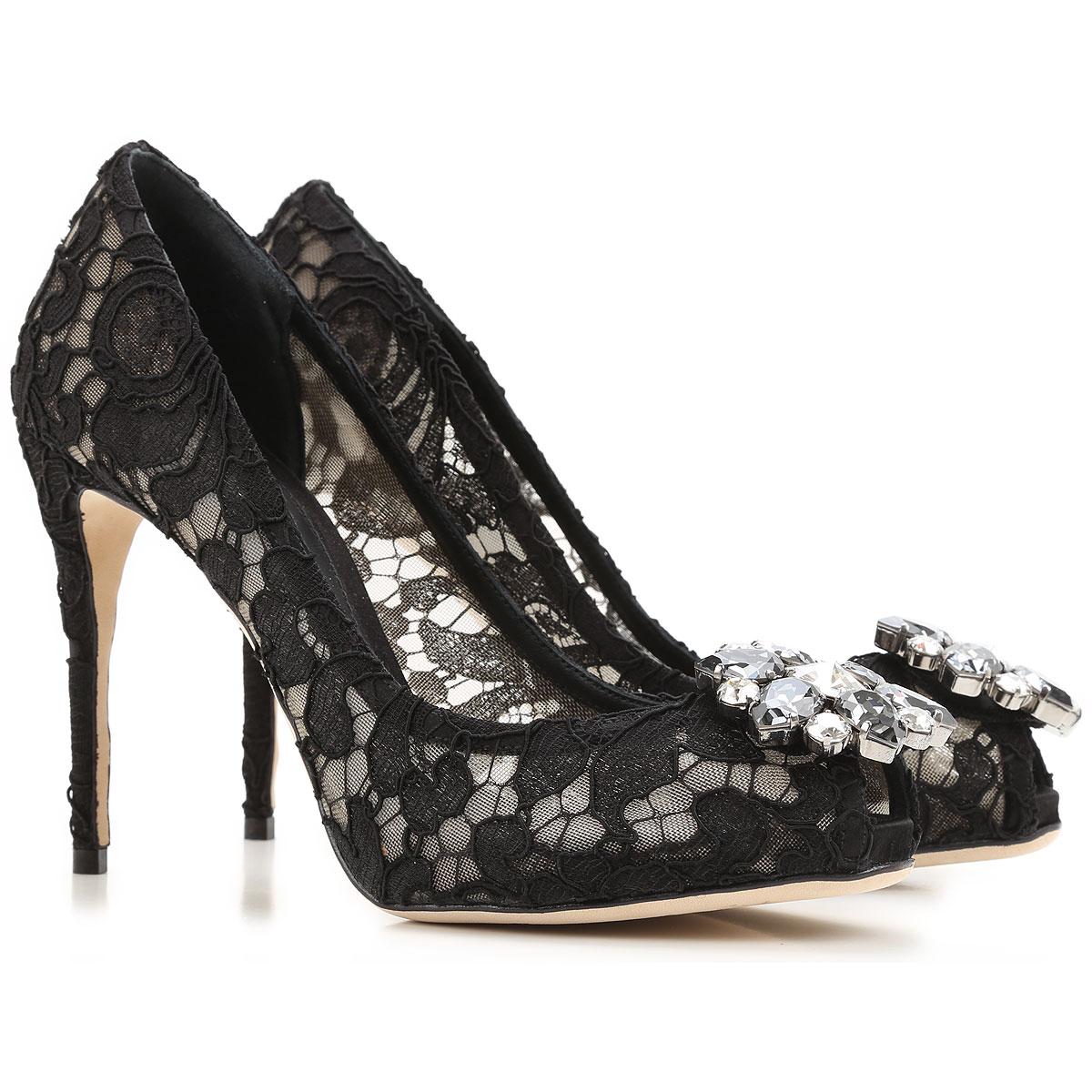 Dolce & Gabbana Peep Toe Open batai & Heels  in Outlet, juodi, Lace, 2019, 35 38 39 39.5