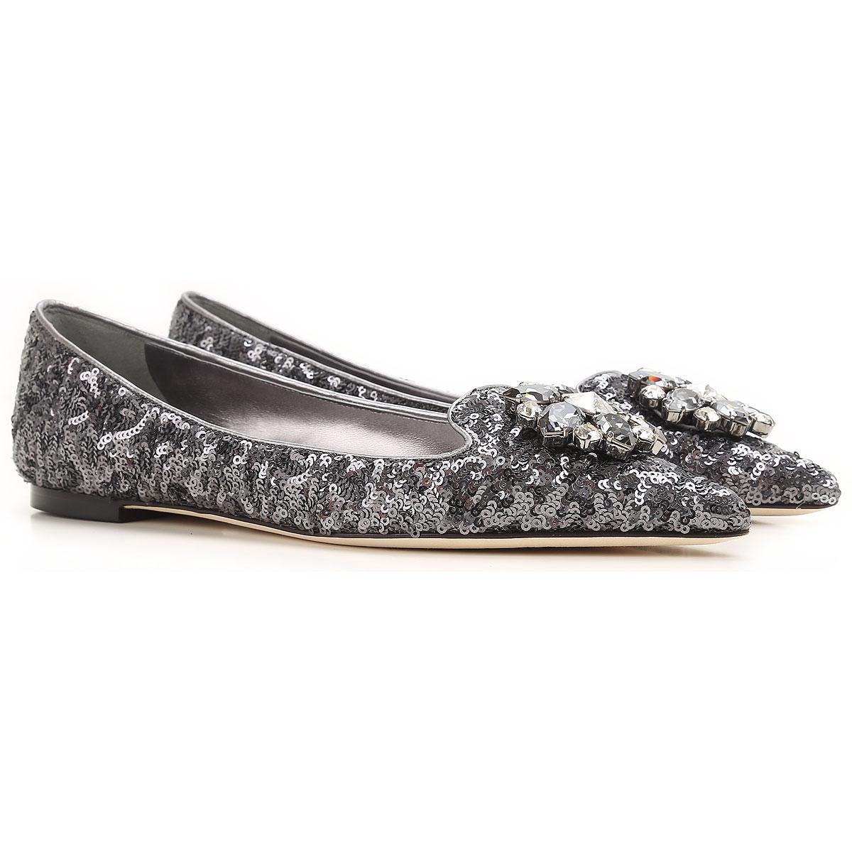 Dolce & Gabbana Chaussure Ballerine Femme Pas cher en Soldes Outlet, Noir, Paillettes, 2019, 35.5 36