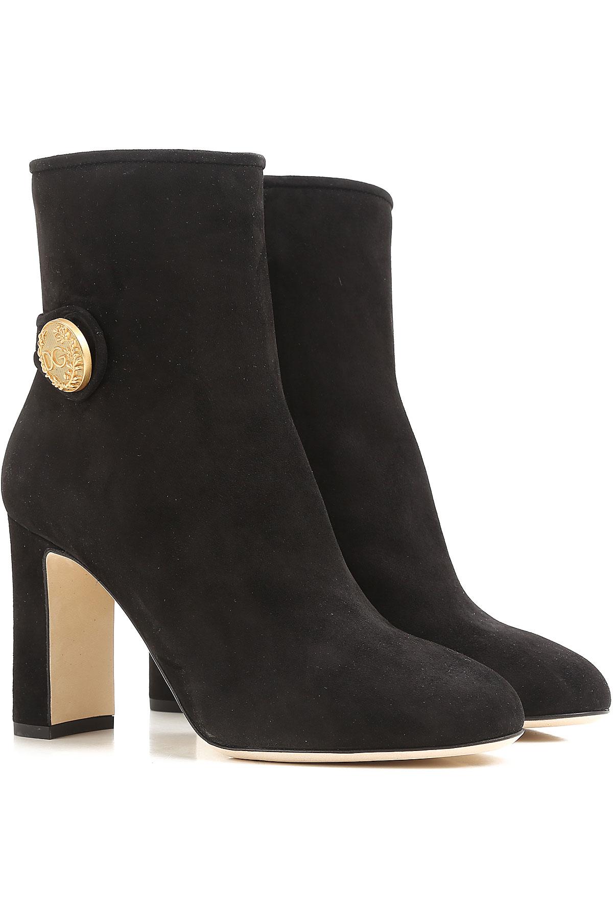 Dolce & Gabbana Kadınlar İçin Çizme Ve Botlar İndirimli Satış, Siyah, Süet, 2019, 10 8