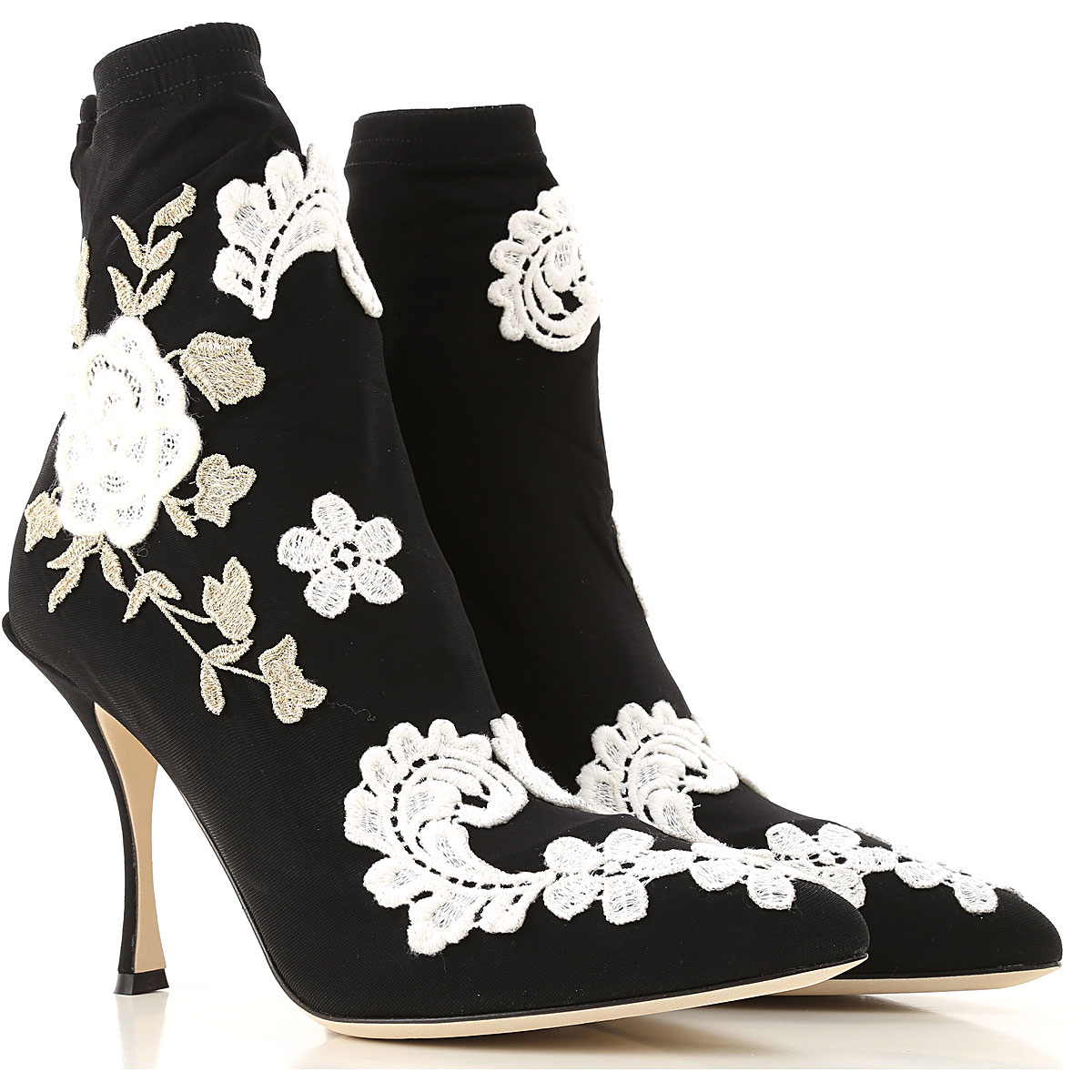 Dolce & Gabbana Boots moterims, Booties  in Outlet, juodi, Stretch Fabric, 2019, 35 36.5 38.5