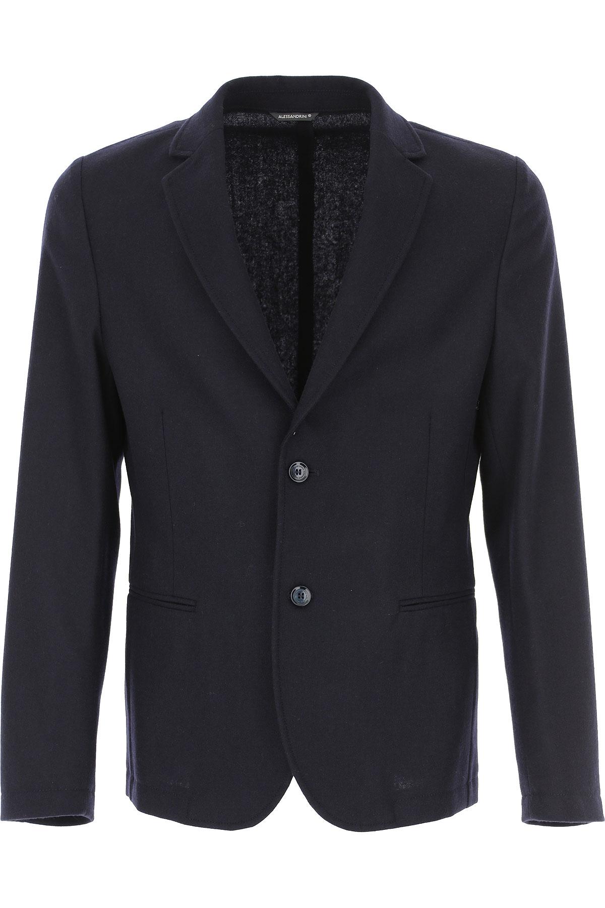 Daniele Alessandrini Blazer for Men, Sport Coat On Sale, Navy Blue, Wool, 2019, L M XL