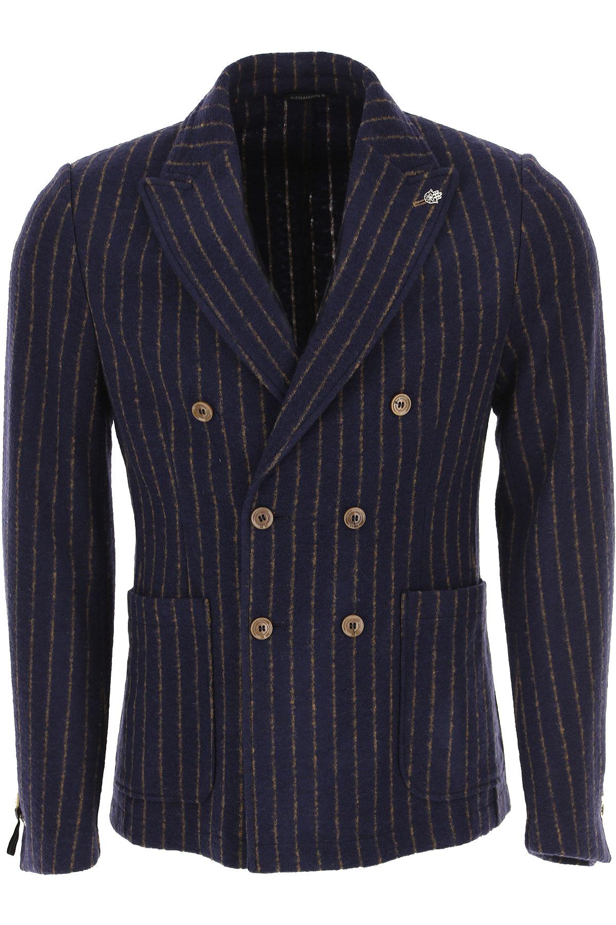 Daniele Alessandrini Blazer for Men, Sport Coat On Sale, Navy Blue, Acrylic, 2019, L M XL
