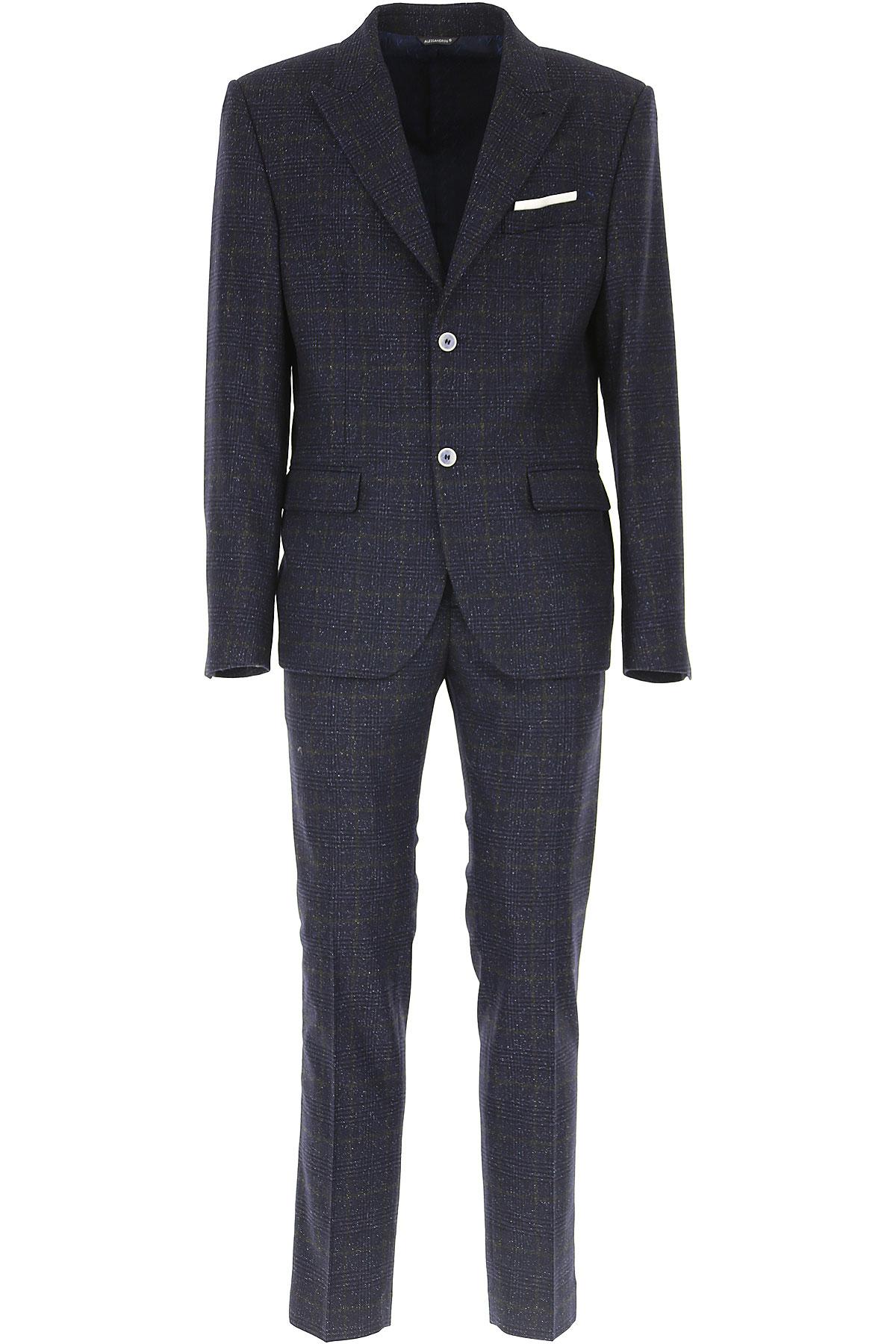 Image of Daniele Alessandrini Men's Suit, Dark Blue, Wool, 2017, L M XL