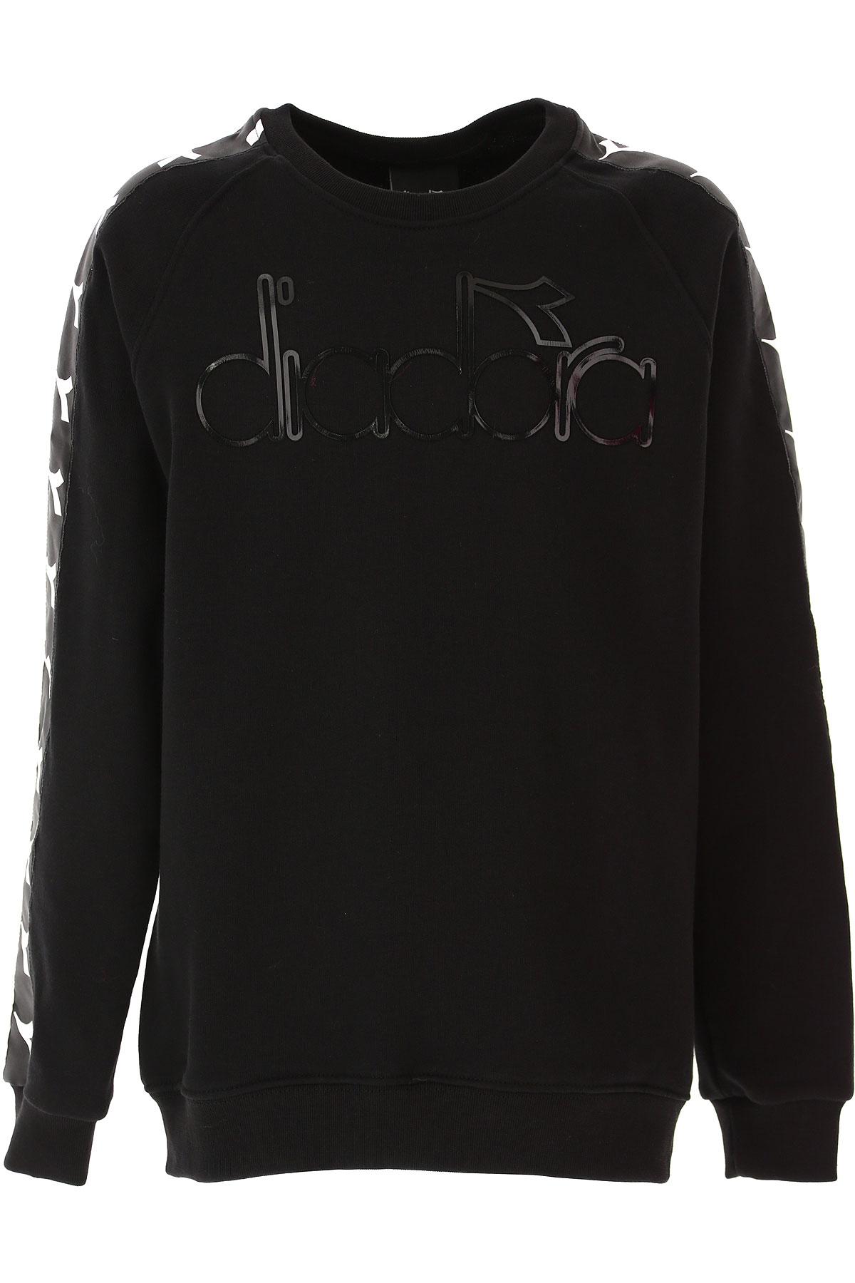Diadora Kids Sweatshirts & Hoodies for Girls On Sale, Black, Cotton, 2019, 10Y 12Y 14Y