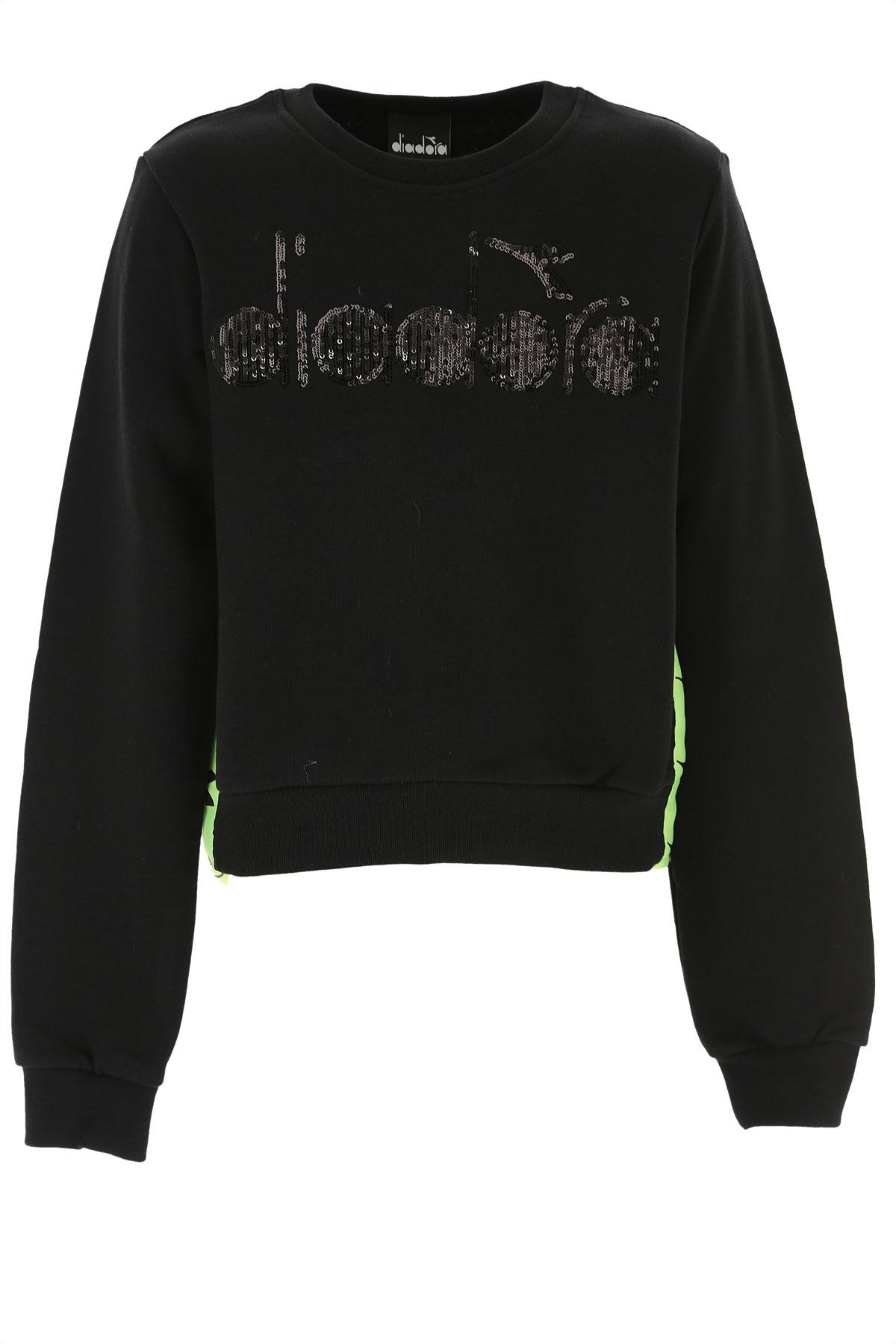 Diadora Kids Sweatshirts & Hoodies for Girls On Sale, Black, Cotton, 2019, 10Y 12Y 14Y 8Y
