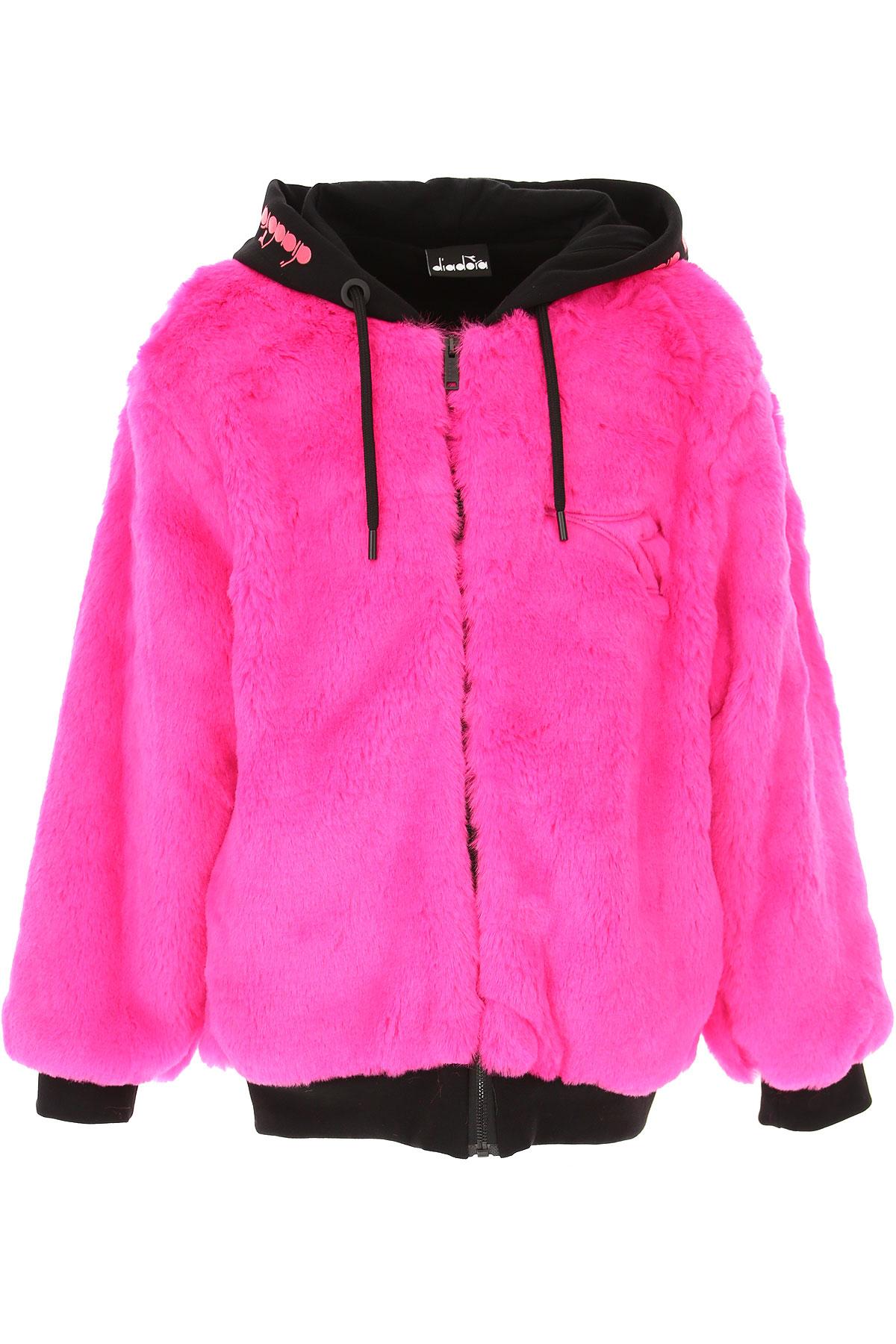 Diadora Kids Sweatshirts & Hoodies for Girls On Sale, fluo Fucsia, polyester, 2019, 10Y 12Y 14Y