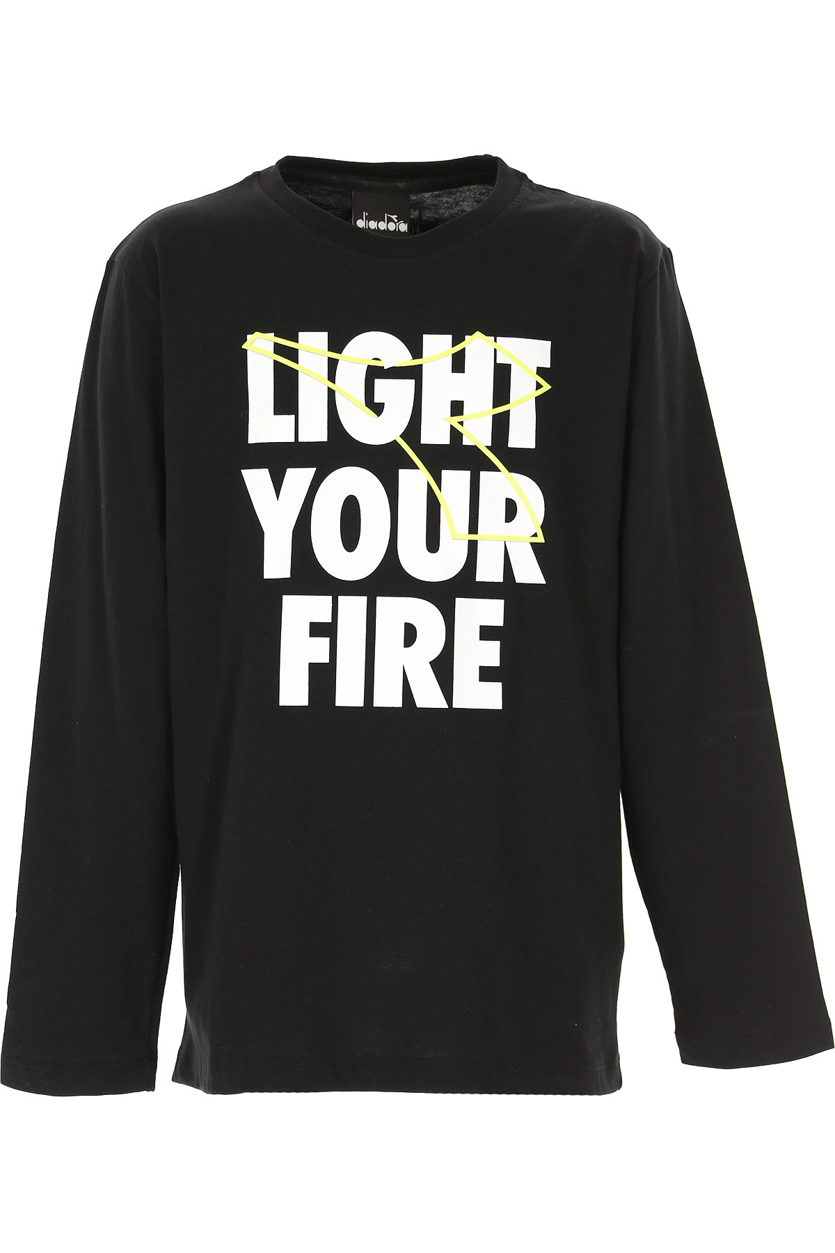 Diadora Kids T-Shirt for Boys On Sale, Black, Cotton, 2019, 12Y 14Y