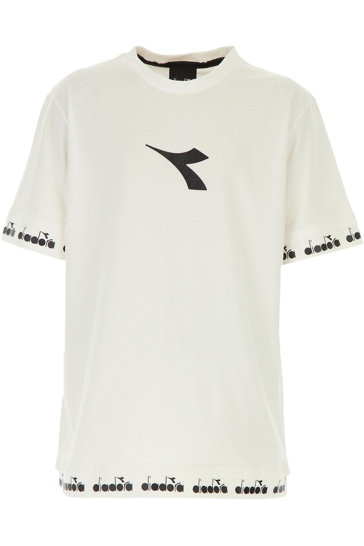 Diadora Kids T-Shirt for Boys On Sale, White, Cotton, 2019, 10Y 12Y 14Y
