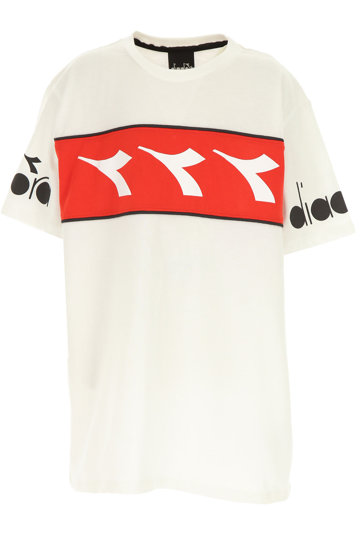 Diadora Kids T-Shirt for Boys On Sale, White, Cotton, 2019, 10Y 12Y 14Y 8Y