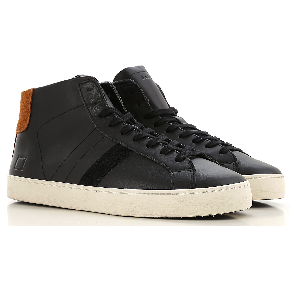 D.A.T.E. Sneakers for Men, Black, Leather, 2019, 7