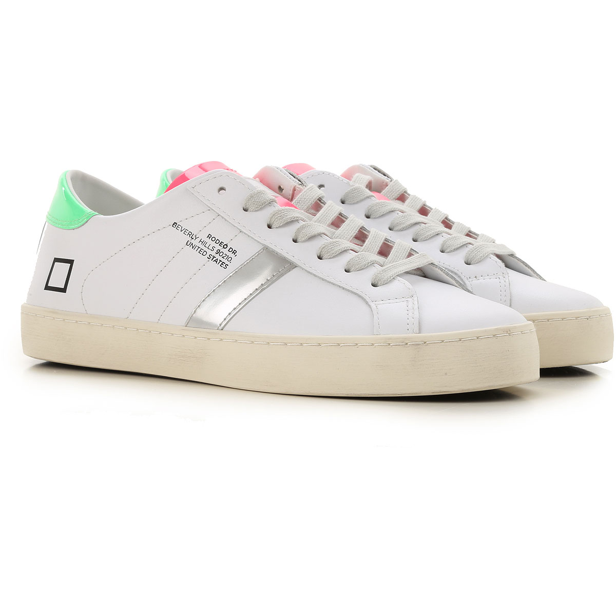 D.A.T.E. Sneakers for Women On Sale, White, Leather, 2019, US 8 5 - UK 6 - EU 39 - JP 25 US 7 5 - UK 5 - EU 38 - JP 24