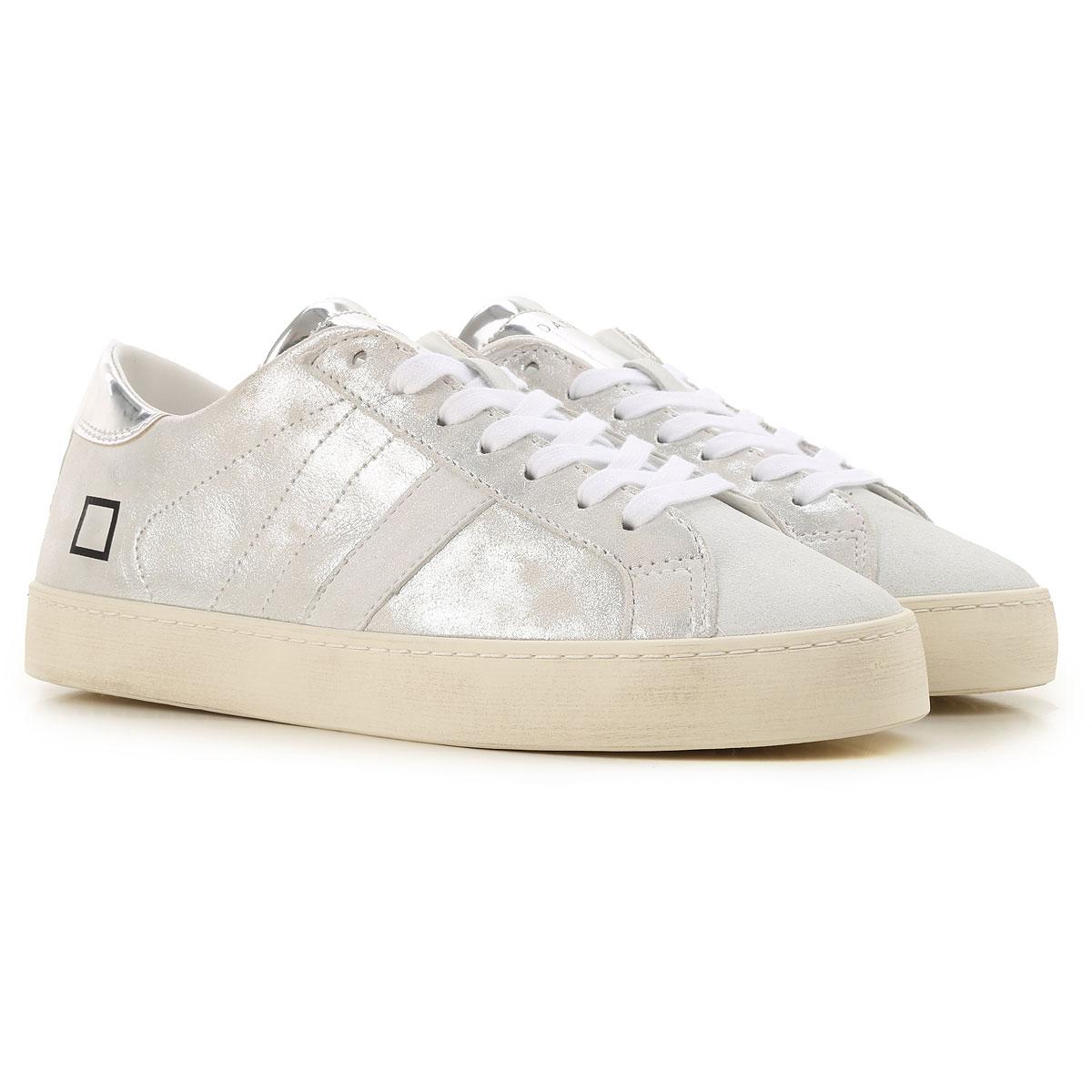 D.A.T.E. Sneakers for Women On Sale, Metallic Silver, Suede leather, 2019, US 6 - UK 3 5 - EU 36 - JP 22 5 US 8 5 - UK 6 - EU 39 - JP 25 US 7 5 - UK 5