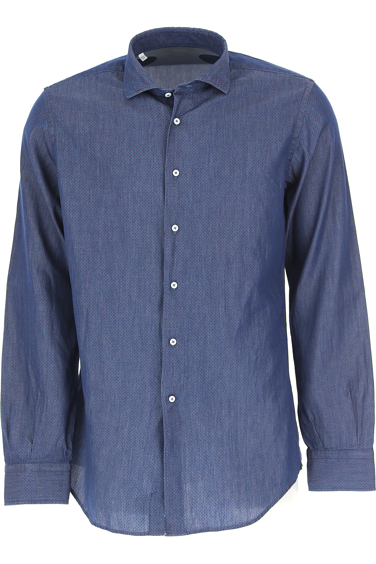 Image of Del Siena Shirt for Men, Blu Denim, Cotton, 2017, 15 15.5 15.75 16 16.5 17