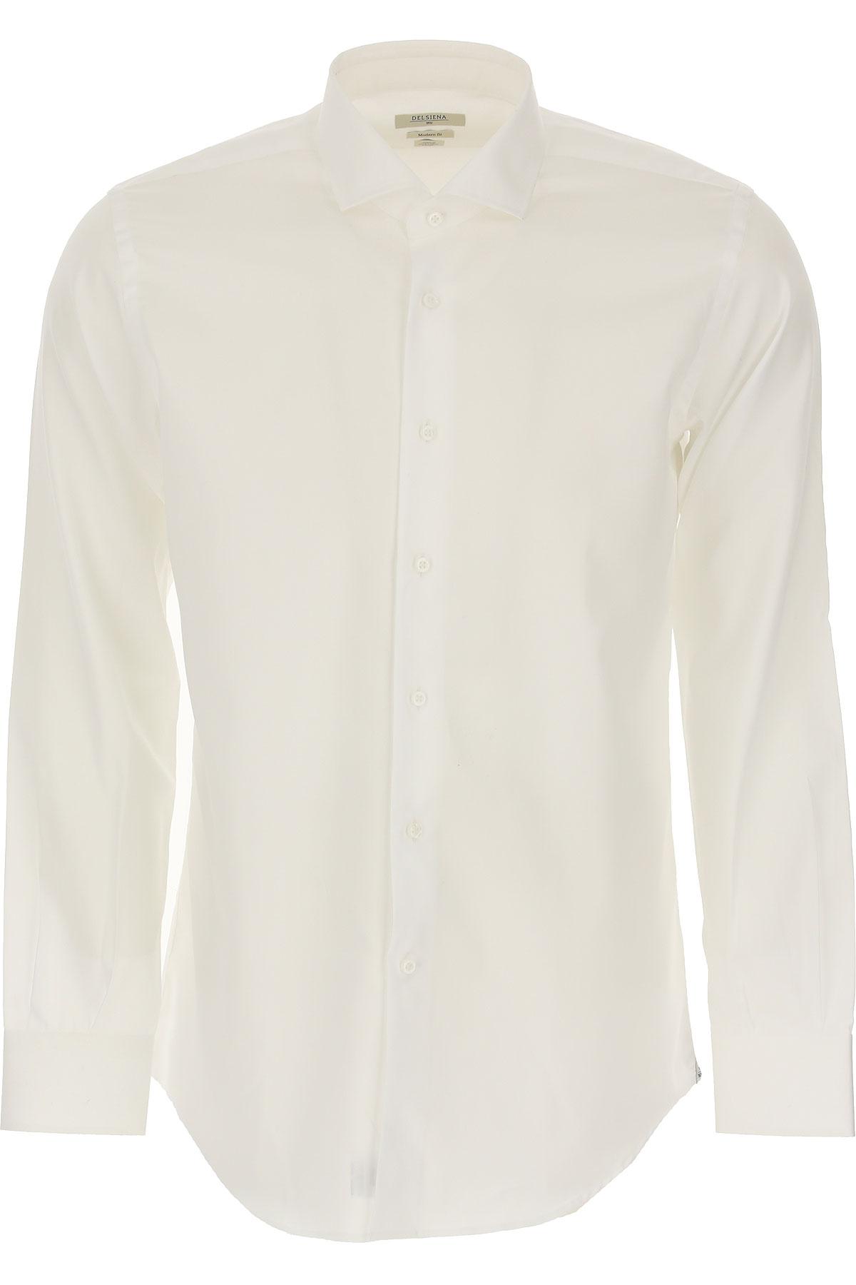 Del Siena Shirt for Men On Sale, White, Cotton, 2019, 15.5 15.75 16 17