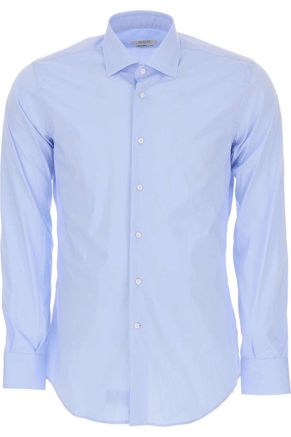 Del Siena Shirt for Men On Sale, Blue Sky, Cotton, 2019, 15.5 16.5